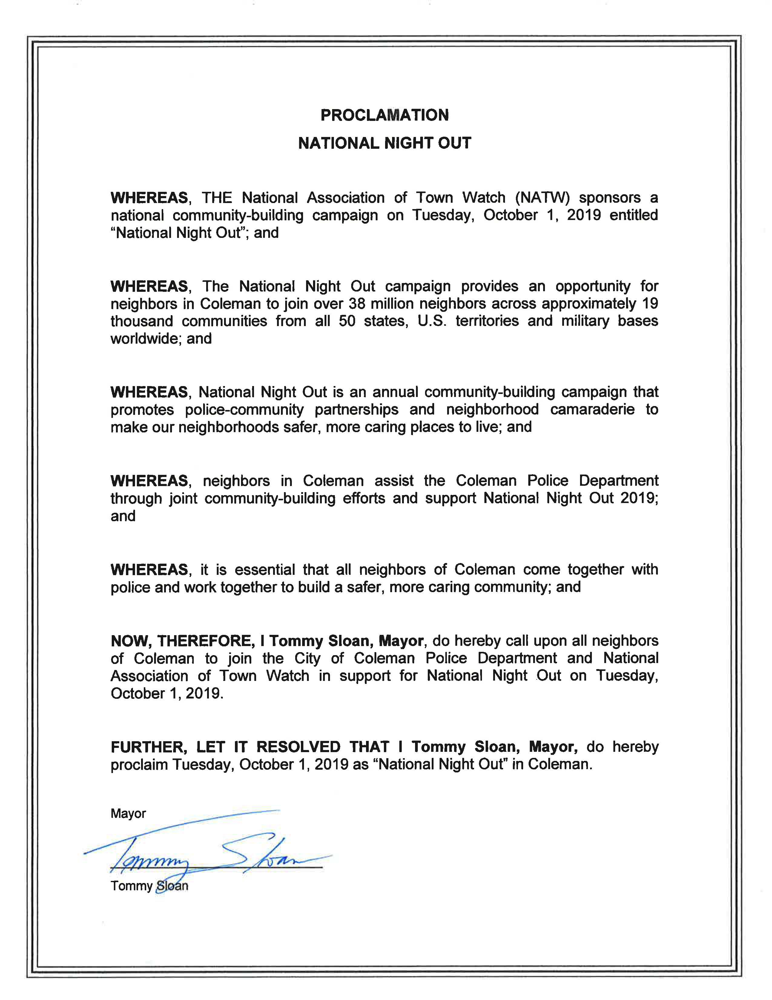 National Night Out Proclamation