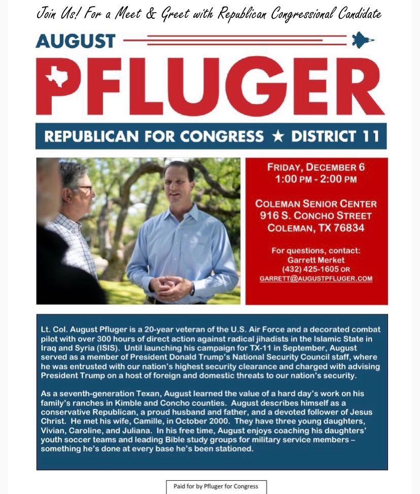 Meet August Pfluger, Candidate for Congress