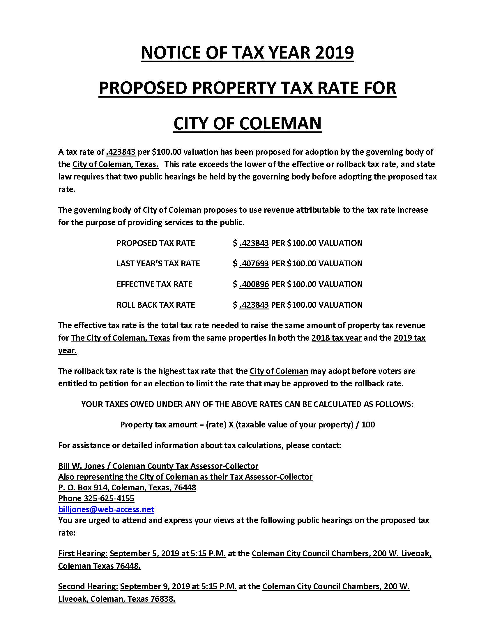 Notice of Tax Rate and Public Hearings