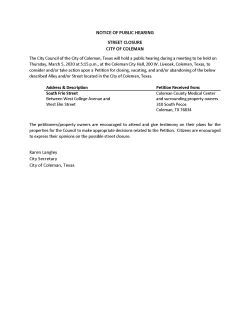 Notice of Public Hearing for Street Closure