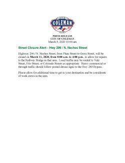 Press Release for Road Closure