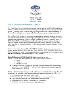 Mayor's Press Release on COVID-19