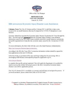 Press Release references Small Businesses