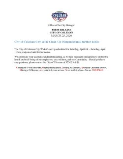 Press Release - City Wide Cleanup Postponed until further notice