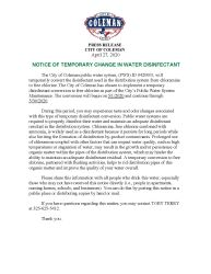 Notice of Temporary Change in Water Disinfectant