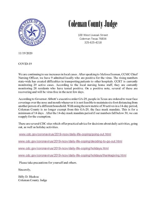Press Release by Judge Billy Bledsoe about COVID-19 Mask Mandate