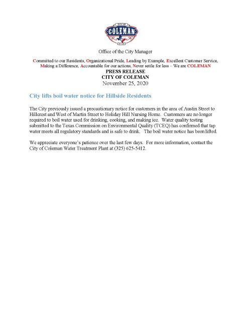 Boil Water Notice Recinded